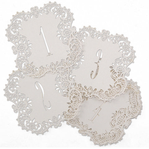 Laser-Cut - Table Number Cards 1-10 - White Shimmer