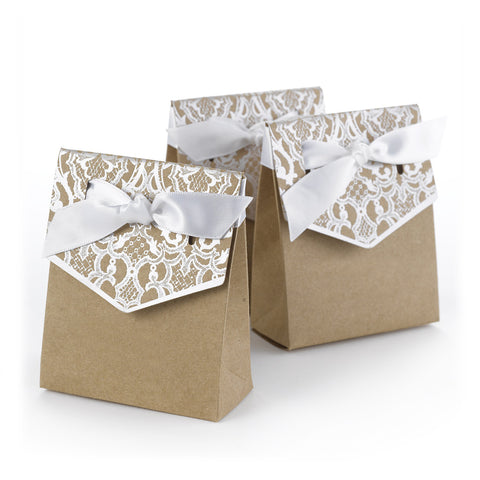 Naturally Vintage - Kraft Tent Favor Box - Blank - Silver or Gold Set of 25