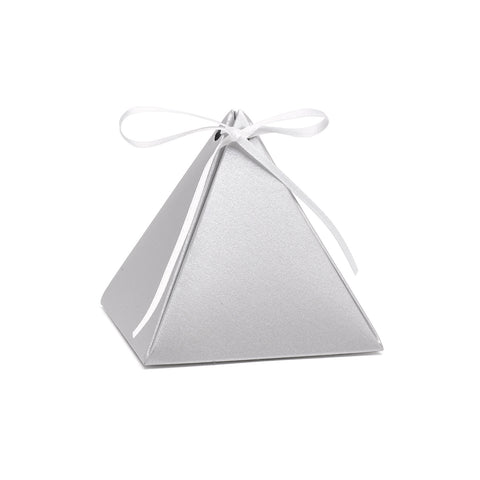 Wedding Pyramid Favor Box - elegant Shimmer - Blank -Set of 25