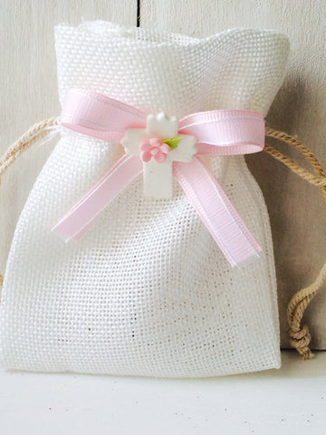 Elegant Girls Baptism, Christening, First Communion Elegant Burlap favor bags -Set of 12