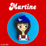 MARTINE Acrylic Brooch, a brunette from Brittany!