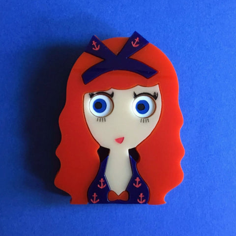 MAGGIE Acrylic brooch, Red Hair Pinup