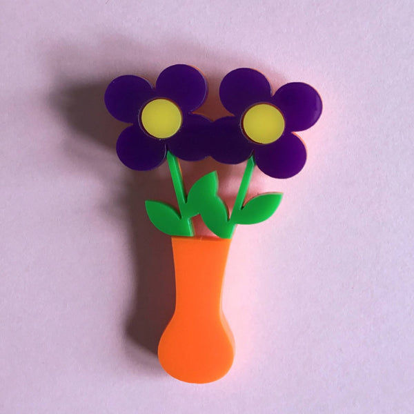 TWO FLOWERS Acrylic Brooch