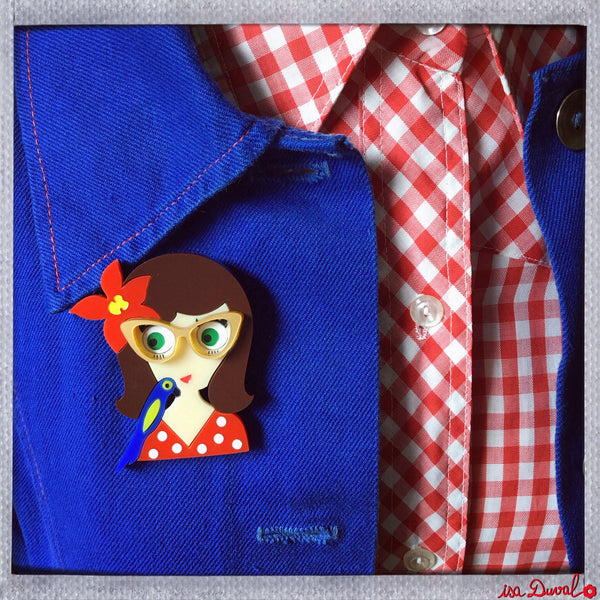 CARMEN Acrylic Brooch, May Pin-up & Parrot Limited Edition - Isa Duval