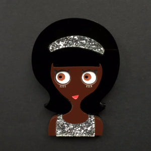 DONNA Acrylic Brooch, glitter dress and headband ready to party! - Isa Duval