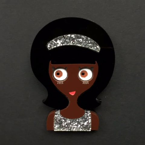 DONNA Acrylic Brooch, glitter dress and headband ready to party!