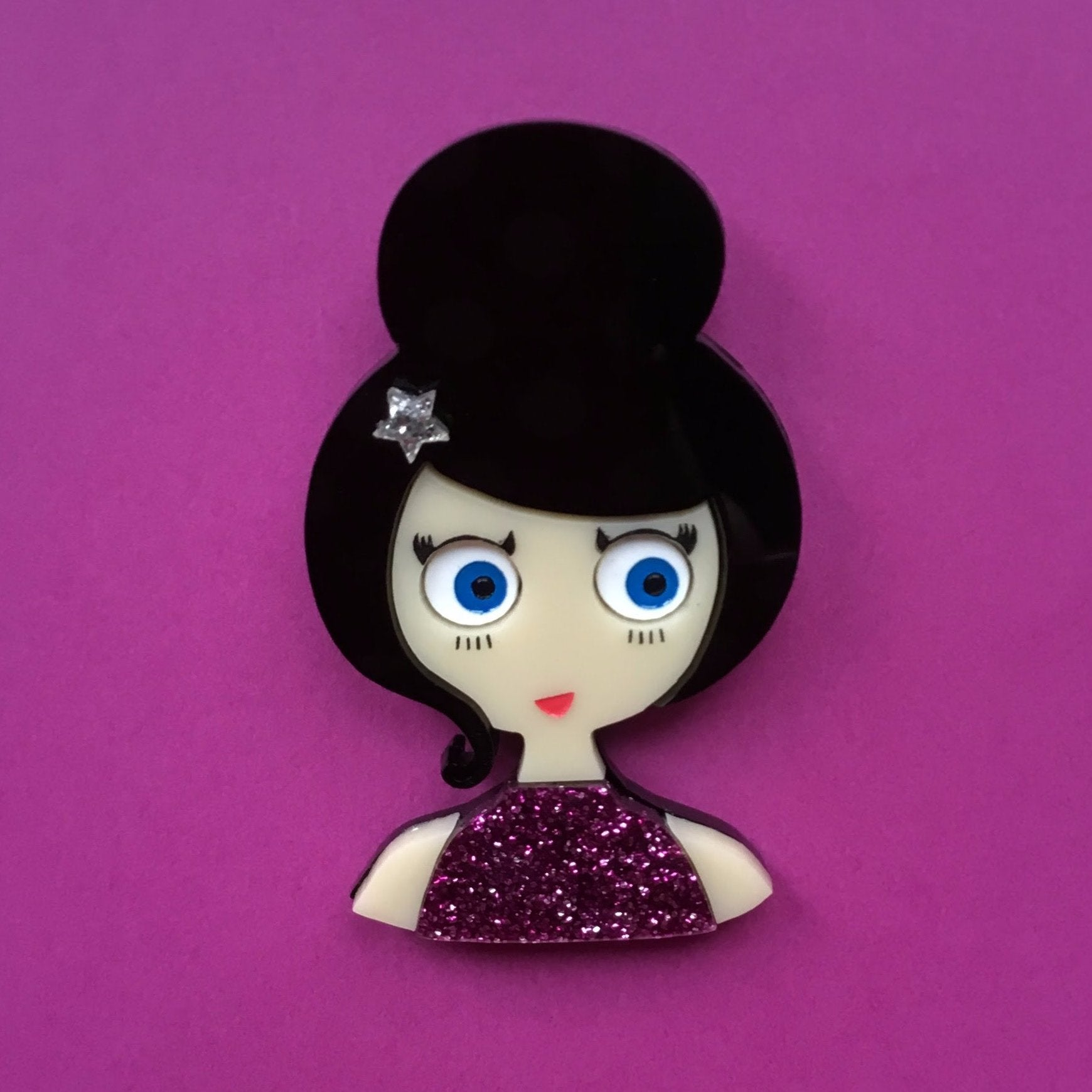 SOFIA Acrylic Brooch, pink glitter dress and silver star hair clip - Isa Duval