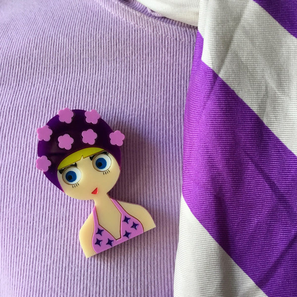 ESTHER Acrylic Brooch - July Limited Edition - Girl with purple bikini and flowers bathing cap - Isa Duval