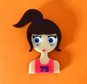 SALLY Acrylic Brooch - Running girl with an orange or pink top!🏃‍♀️ - Isa Duval