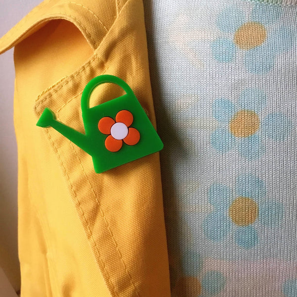 WATERING CAN Acrylic Brooch, Green With an Orange Flower 🌱 🌼 - Isa Duval