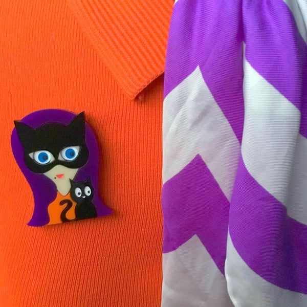 KITTY Acrylic Brooch, Halloween Limited Numbered Edition - Isa Duval