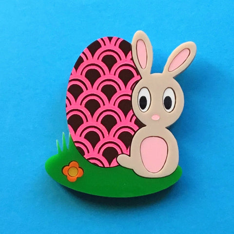 EASTER BUNNY Acrylic Brooch, Limited Edition
