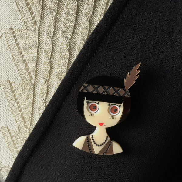 ROSEMARY Acrylic Brooch - Limited Edition - A woman from the Roaring Twenties. - Isa Duval