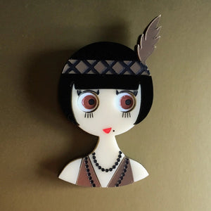 ROSEMARY Acrylic Brooch - Limited Edition - A woman from the Roaring Twenties.