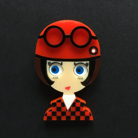 POPPY 2 Acrylic Brooch, Mod with Scooter Helmet - Isa Duval