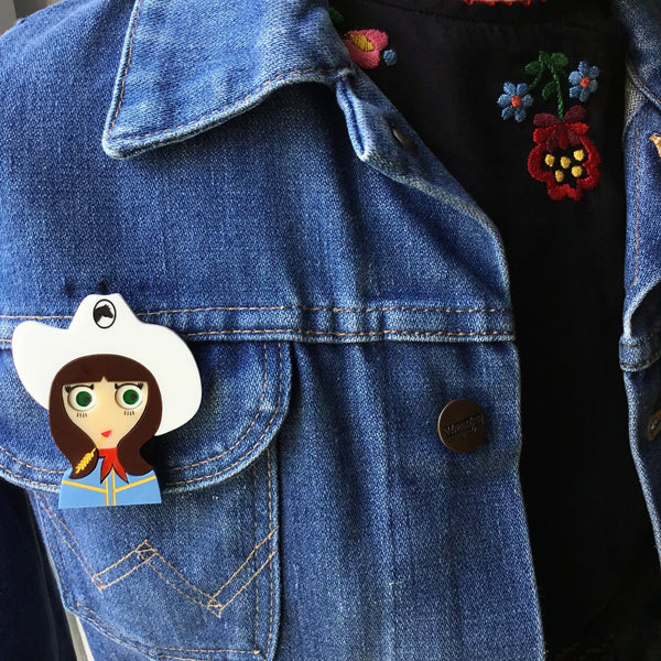 JO Cowgirl Acrylic Brooch, February Limited Numbered Edition - Isa Duval