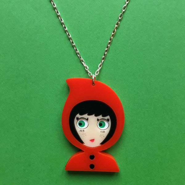 LITTLE RED RIDING HOOD Acrylic & Silver Chain Necklace