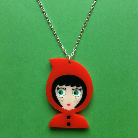 LITTLE RED RIDING HOOD Acrylic & Silver Chain Necklace - Isa Duval