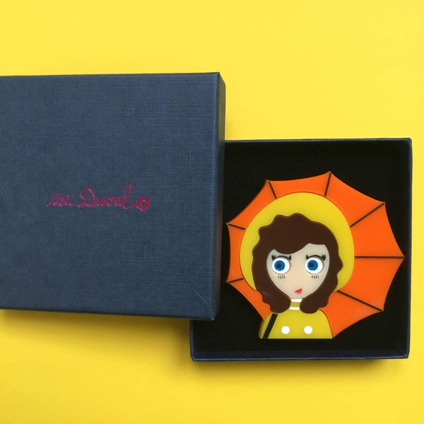 MICHELLE and her Umbrella Acrylic Brooch, April Limited Edition - Isa Duval
