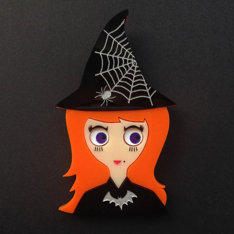 VICKY Halloween Acrylic Brooch, the little witch.