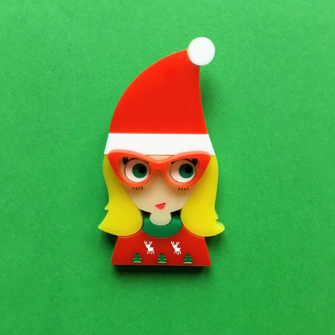BRIGITTE Acrylic Brooch, Your 2019 Christmas Girl