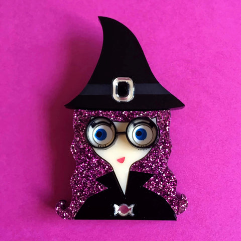 MOLLY Acrylic Brooch - Halloween Funny Glitter Haired Witch 🕸🕷 - Isa Duval