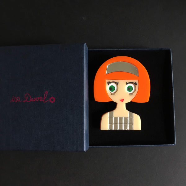 NAOMI Acrylic Brooch - Fashion Girl with a 60s Metallic Dress - Isa Duval