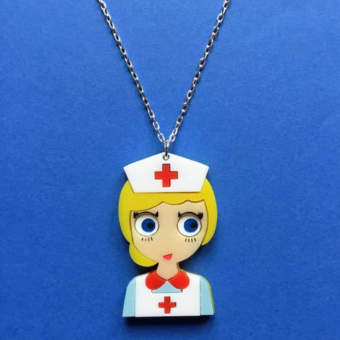 NURSE JUDY Acrylic &  Silver Chain Necklace - Isa Duval