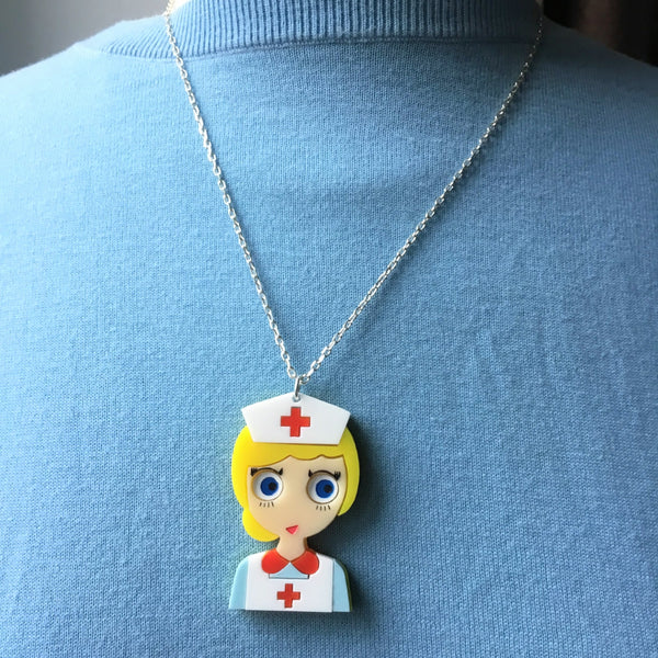 NURSE JUDY Acrylic &  Silver Chain Necklace