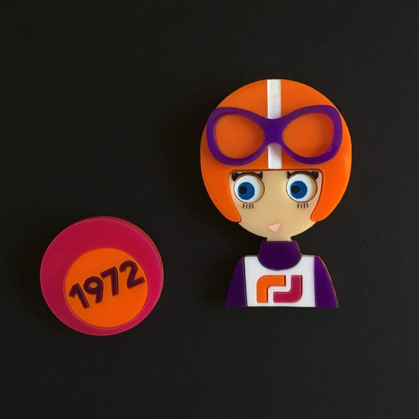 OLGA Acrylic Brooch, Ski Racer from the 70s, Limited Edition - Isa Duval