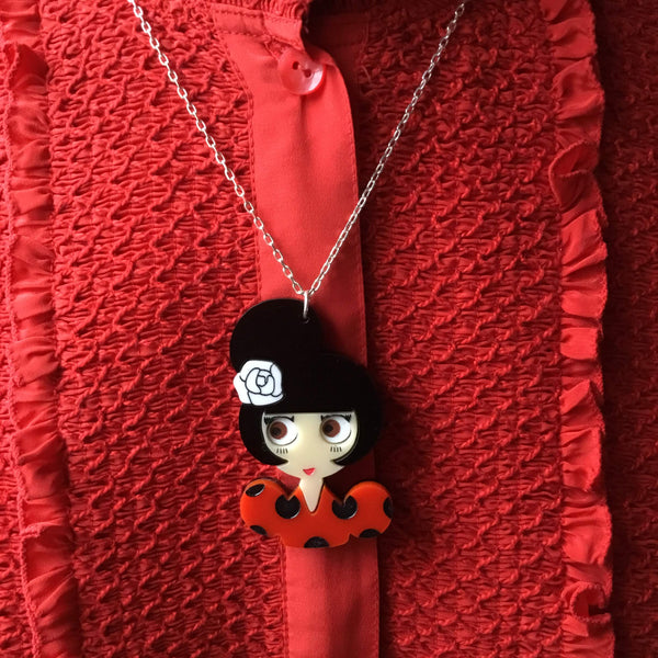 ROSA Flamenco Girl Acrylic & Silver Chain Necklace - Isa Duval