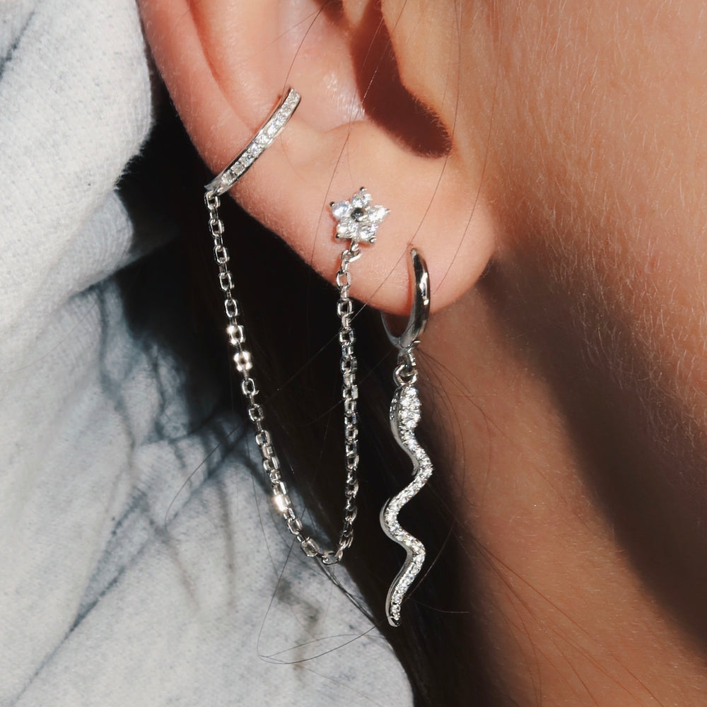 Flower Earstud & Connected Cuff Silver