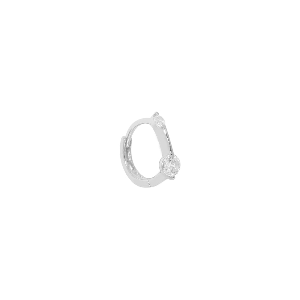 Load image into Gallery viewer, Double Diamond Bar Hoop Silver
