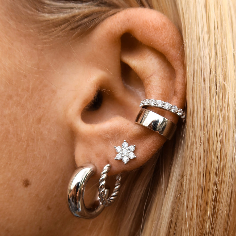 Big Flower Earstud Silver