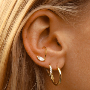 Mini Diamond Huggie Earring Gold