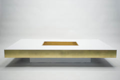 Rare très grande table basse de Willy Rizzo laquée laiton 1970