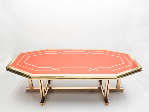 Unique grande table laquée rouge laiton de la Maison Jansen 1970