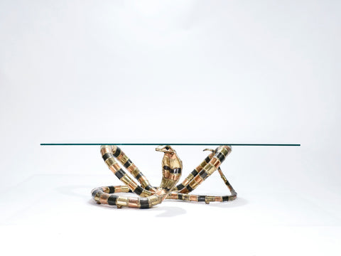 Table basse sculpture Cobra bronze laiton signée Isabelle Faure 1970