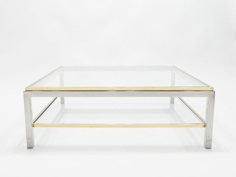 Grande table basse chrome laiton Flaminia par Willy Rizzo 1970