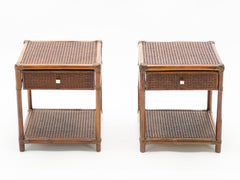 Paire de tables de chevet bambou cannage laiton 1960
