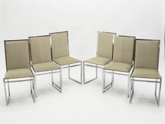 Set de 6 chaises chrome loupe velours par Metal Arredo Milan 1970