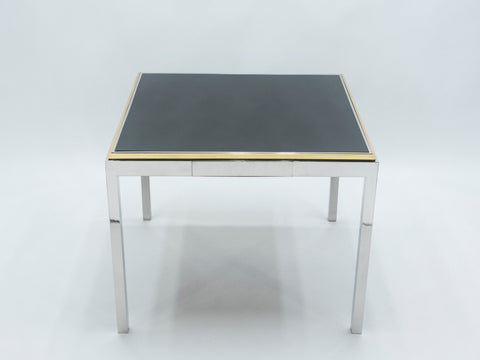 Table à jeu laquée laiton chrome Flaminia Willy Rizzo 1970