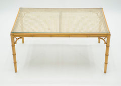 Table basse verre bambou cannage vers 1960