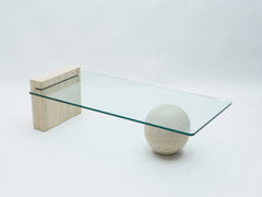 Rare table basse en travertin et verre par Philippe Barbier 1970