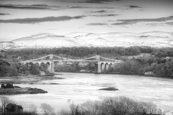 Menai Bridge Winter - B&W