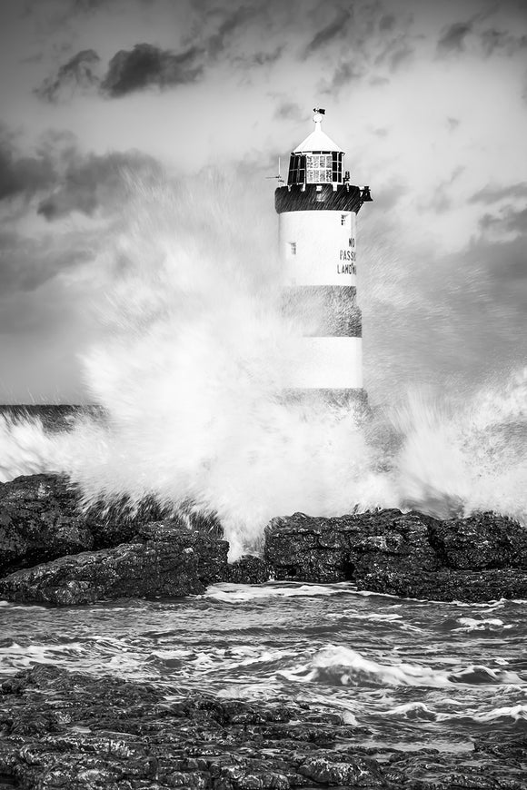Stormy Lighthouse B&W