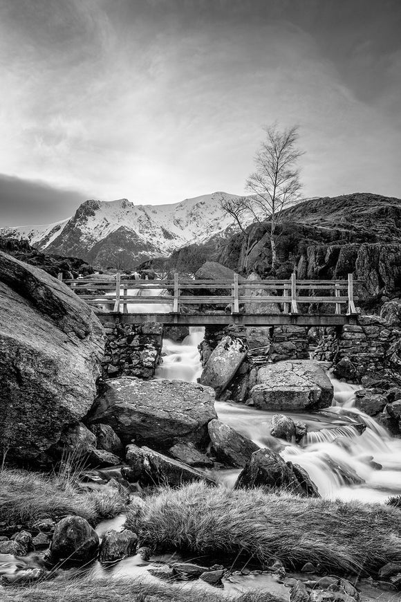 Icy Waters at Rhaeadr Idwal B&W