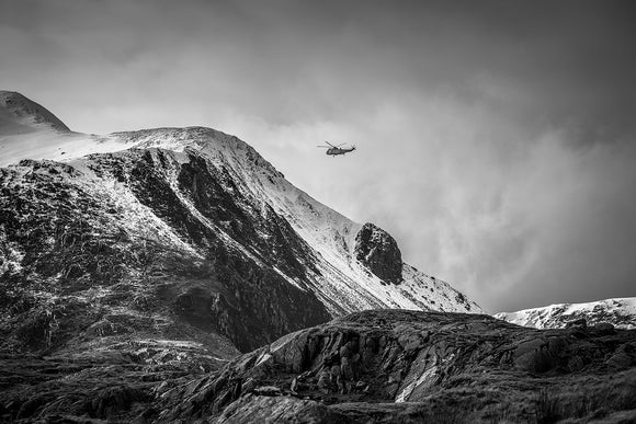 RAF Mountain Rescue in Snowdonia B&W