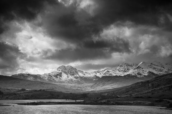 Stormy Skies over Snowdon Horseshoe B&W