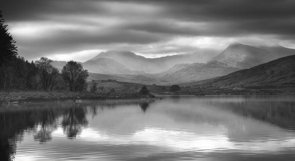 Snowdon Horseshoe Reflections - B&W Panorama